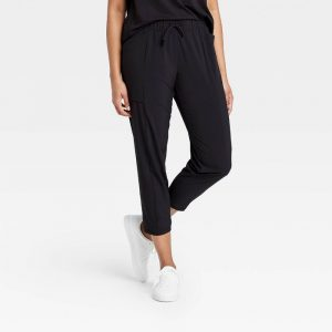 Stretch Woven Tapered Leg Pants